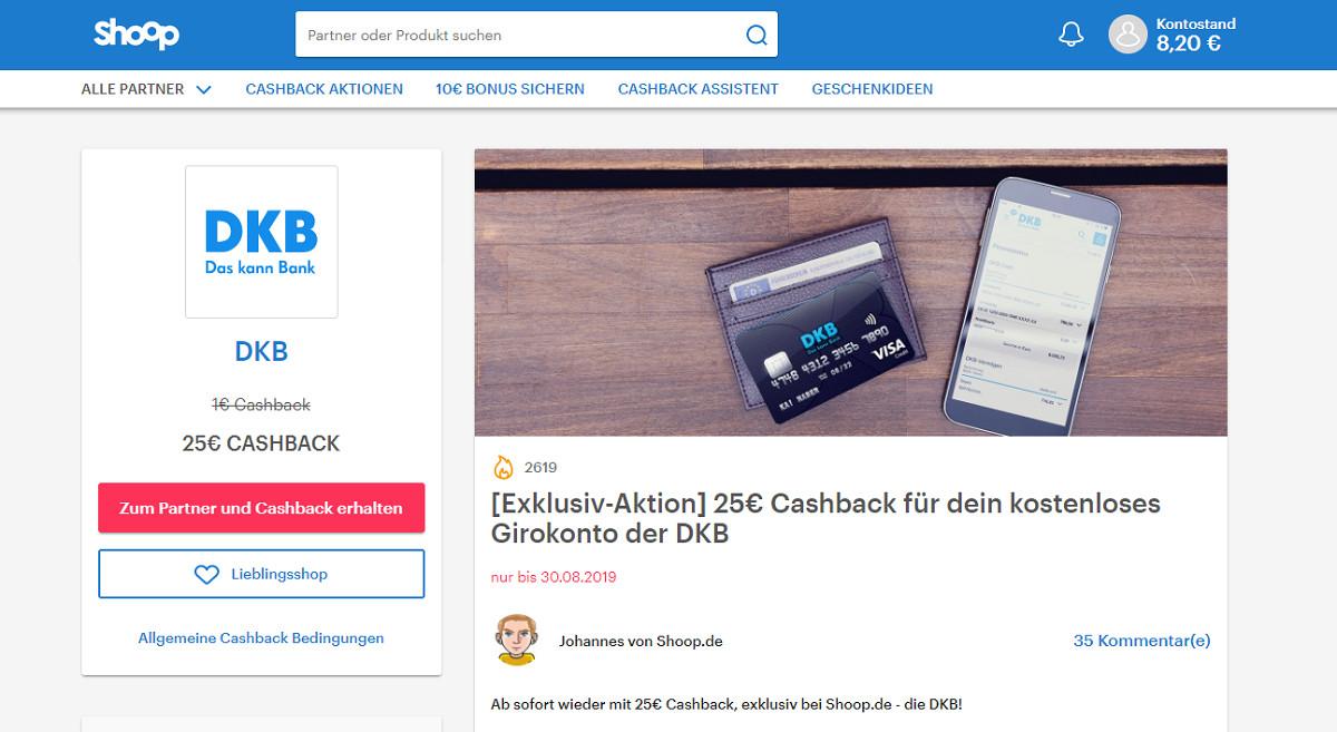 Exklusiv 25 Euro Cashback für gratis DKB Girokonto